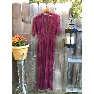 Honeypunch Red Lace Maxi Romper